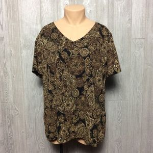 Gold and Black Printed Blouse PLUS SIZE